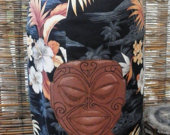 Price reduced! Tangaroa Moku Tiki Pencil Skirt, with hand embroidered tattooed tiki