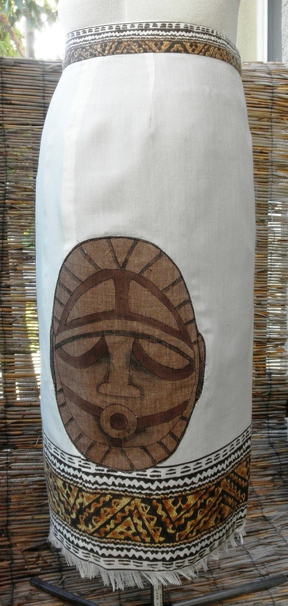 Price Reduced! Papua New Guinea Mask Pencil Skirt, TIKI & Tapa design