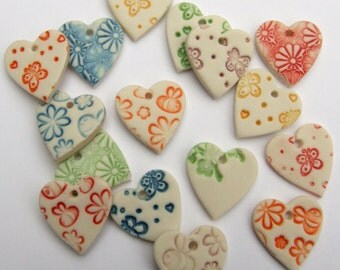 Heart Pendant - Jewellery Making Pendants - scrapbooking -  crafts - Price is per button - jewelry beads - Heart Bead -  Ceramic