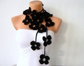 Flower Scarf Black Flower Lariat Scarf Necklace