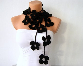 Flower Scarf Black Flower Lariat Scarf Necklace
