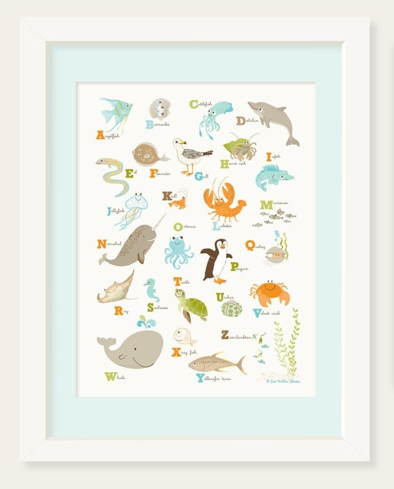 OCEAN wall art,  Sea ABC, ocean Alphabet wall art - nursery wall decor for kids and baby, bathroom art