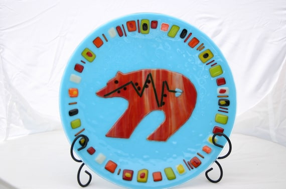 SALE was 175.00 Turquoise Navajo Fetish Bear Bowl, fused glass SALE