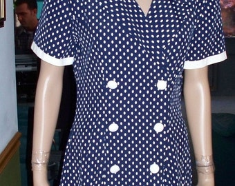 Womens  Dress-Casual Dress -White Polka Dot -Short Sleeves- Day Dress ~ Women's Vintage Casual Dress