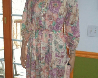 Womens Casual Dress Vintage 70s Pink Floral INDIE Boho Old New Stock WithTags