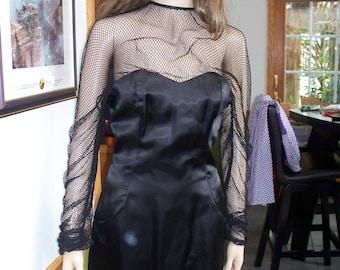 Womens Dress-  Black Satin ~ Fishnet Sleeves~ Sheath Evening Dress