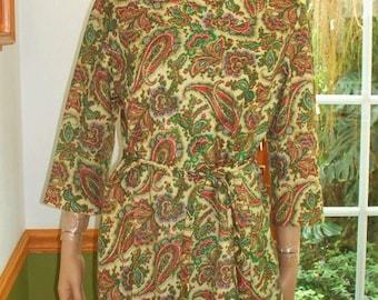 Womens Dress~ Paisley~ Long Sleeves ~ Tie Belt- Amy Adams   Vintage Womens Dress