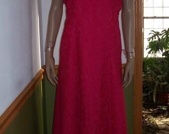 Floral Lace Fuchsia  Gunne  Sax Style  Vintage Womens Formal Maxi Dress