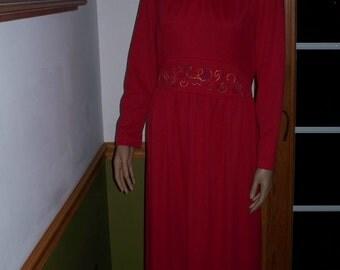 Embroidery Red Dress Long Sleeves- Womens Maxi Dress ~ Empire Waist - Womens  Vintage Dress