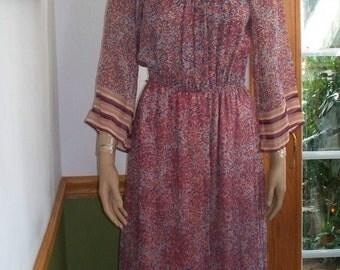 Womens  Dress-   Sheer Sleeves- Neiman Marcus Romantic  70s Floral Maxi Dress