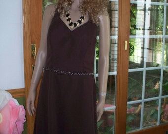 Womens Brown Dress Seed Bead Trim-Formal- Sundress 70's   Alfread Angalo  Sleeveless-Maxi Dress
