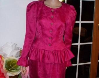 Womens Formal Dress:  Fuchsia ~ Pink Morton-Myles 100%Silk  Vintage    Womens  Vintage Dress