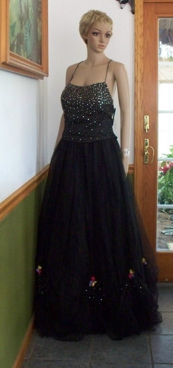Vintage 70's, Black Tulle PROM Goth Wedding dress Womens  Party Dress  GOWN  Spag.Strap