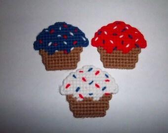 3 Handmade Patriotic Cupcake Magnets...Plastic Canvas
