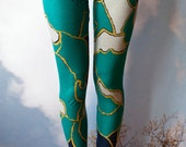 Yoga Leggings Printed Green Floral Alkaline