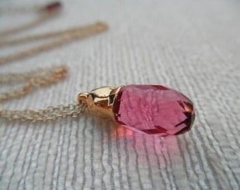 Hydro Quartz necklace - gold necklace - pink necklace - A M E L I A 116