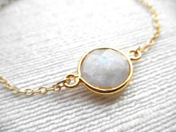 Moonstone bracelet - gold bracelet -  K A T E
