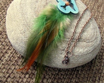 Feather Necklace - Bird Necklace, Fall Colors, Beaded Feather Necklace - Migration