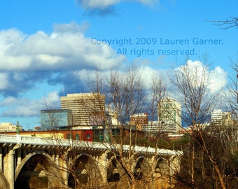 Downtown - Columbia SC South Carolina Photography Gervais Street Bridge Blue Sky Fine Art Metallic Print - 8x10 Photograph