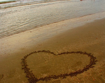 Love Washed Ashore - Heart Drawn in the Sand Beach Nautical Wedding Engagement Gift Fine Art Print - 8x10 Photograph