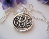 CUSTOM LISTING - epsm - St Clair Monogrammed Wax Seal Pendant in Sterling Silver- Boutique Exclusive