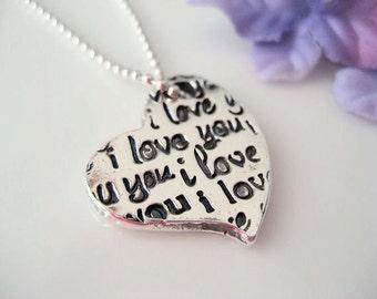 Love Note Heart - Fine Silver Pendant
