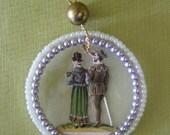 Victorian Christmas Ornament Victorian Scrap Loving Couple Beads