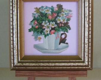 Antique Tea Cup Saucer Victorian Cottage Flowers Die Cut Framed