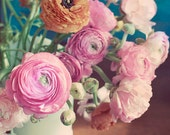 Still Life Flower Photograph, Ranunculus in Vase, Fine Art Print, Shabby Chic, Home Decor, Romantic Pink Photo, Natural Light