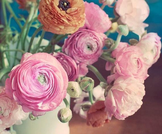 Still Life Flower Photograph, Ranunculus in Vase, Fine Art Print, Shabby Chic, Home Decor, Romantic Pink Photo, Natural Light