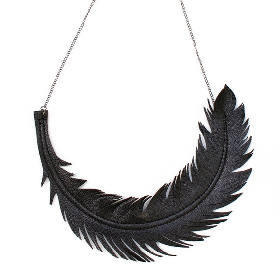 "Black Feather Necklace, Leather Feather Jewelry, ""RAVEN"" Statement Bib Necklace"