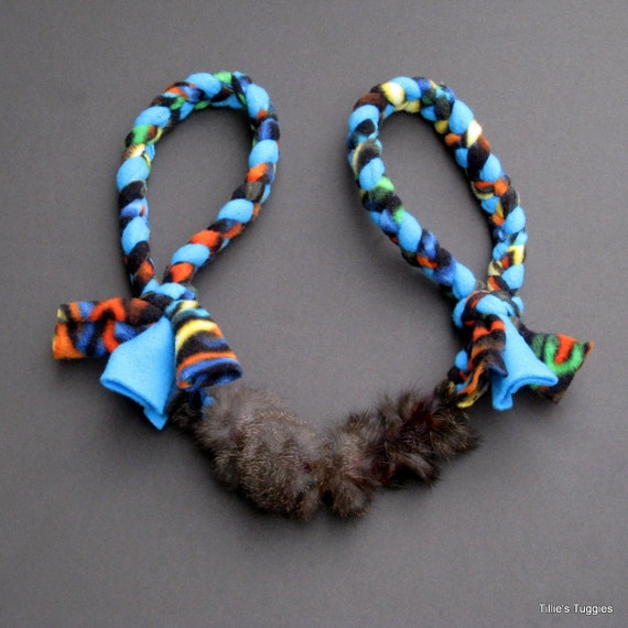 Make Dog Tug Toy: Double-handled Dog Tug Toy With Real Rabbit Fur By