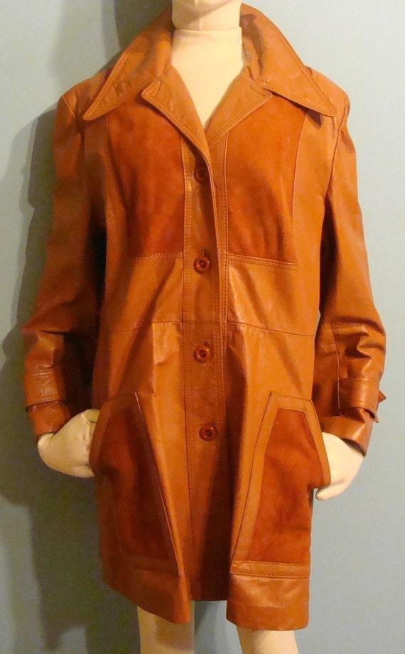 Vintage Dark Orange Leather and Suede Jacket