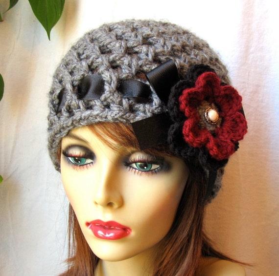 Crochet hat Charcoal Grey Womens Hat, Beanie, Flower, Ohio Buckeye, Chunky, Warm. Teens, Winter, Ski Hat, JE407BRF2