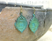 Teal arabesque earrings grunge green moroccan jewelry