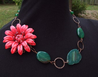 Emerald Green flower necklace
