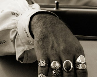 Photograph Black and White Pakistani Man's Hand Fingers with Gemstone Rings Jewelry Unique Art Statement Home Decor