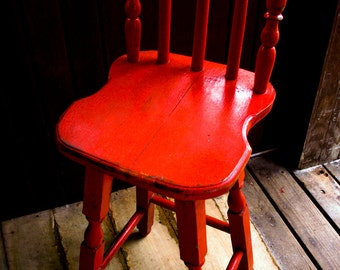 Photograph Bright Cherry Red Painted Wooden Rustic Windsor Dining Chair Bar Stool Furniture Vertical Art Print Home Decor