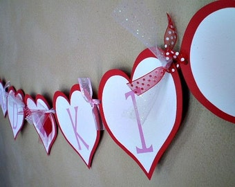Valentine's Day Banner, Hugs And Kisses, Valentine Party, Valentines Day Decoration, Valentine Birthday, Heart Banner, Party Banner