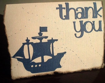 Pirate Party Thank You Cards, Treasure Map Thank You Card, Pirate Thank You Card, Pirate Card, Pirate Party, Pirate Ship Card, Set of 10