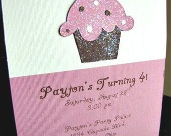 Cupcake Party Invitations, Cupcake Birthday Invitation, Baking Party Invitation, Cupcake Shower Invitation, Girl Birthday, Chloe, Set of 12