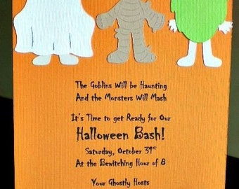 Halloween Party Invitations, Costume Party Invitations, Halloween Invitation, Halloween Birthday, Child Halloween Party Invite, Set of 12