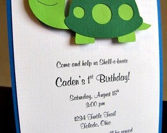 Turtle Party Invitations, Tommy, Turtle Baby Shower, Baby Shower Invitation, Turtle Birthday Party, Turtle Invitation, Turtle, Set of 12