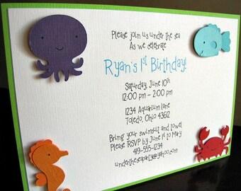 Under the Sea Party Invitations, Sea Friends Invitation, Sea Animal Party Invitation, Birthday Invitation, Shower Invitation, Set of 12