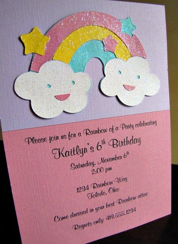 Rainbow Party Invitations, Rainbow Birthday Party Invitation, Rainbow Girl Party Invitation, Rainbow Invitation, Rainbow Party, Set of 12