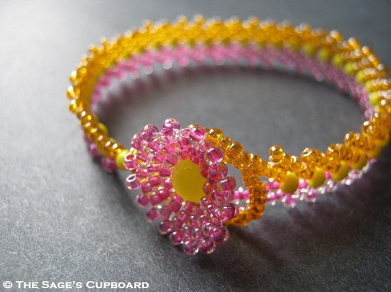 Tutti Frutti Bracelet. Pink Orange and Yellow Handmade Beaded Wrist Wrap - Reserved