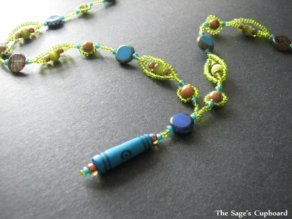 Blue Lime Y Necklace. Handmade Beaded Pendant with Bright Green and Blue Glass Beads