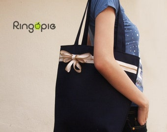 Sale 30% OFF-Ready To Ship-Zipper Tote in Navy/purse/shoulder bags/handbags/school bag/handmade bags/casual bags/women/For Her - 027