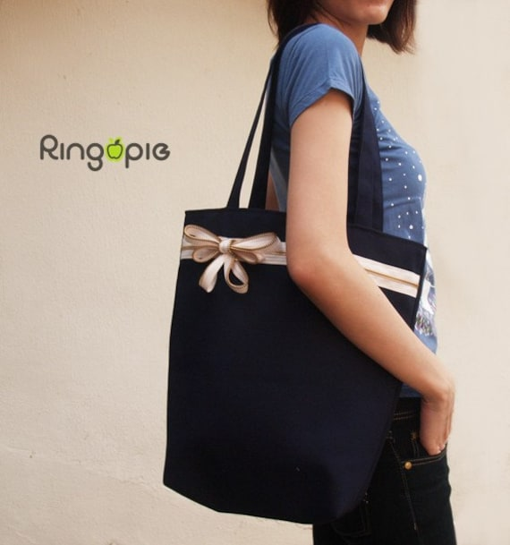 Sale 20% OFF-Ready To Ship-Zipper Tote in Navy/purse/shoulder bags/handbags/school bag/handmade bags/casual bags/women/For Her - 027