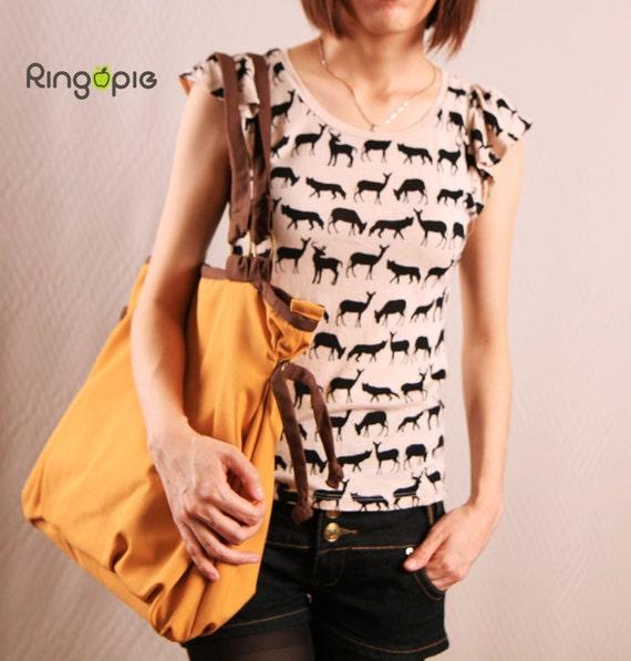 Sale 20% OFF-Ready To Ship- Ringopie Everyday Canvas Tote Bag(Mustard)/shoulder bag/purse/laptop bag/school bag/Handbag/women/For Her-052